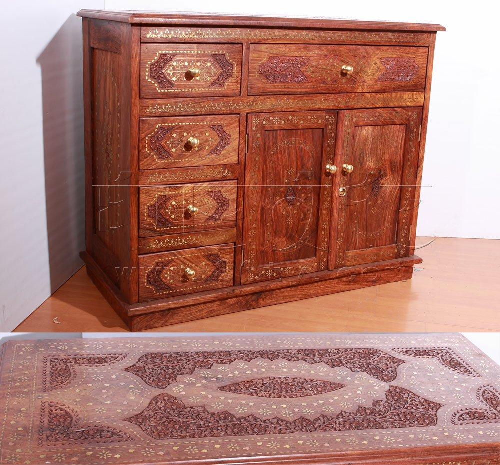 印度手工镶铜片酸枝木柜子