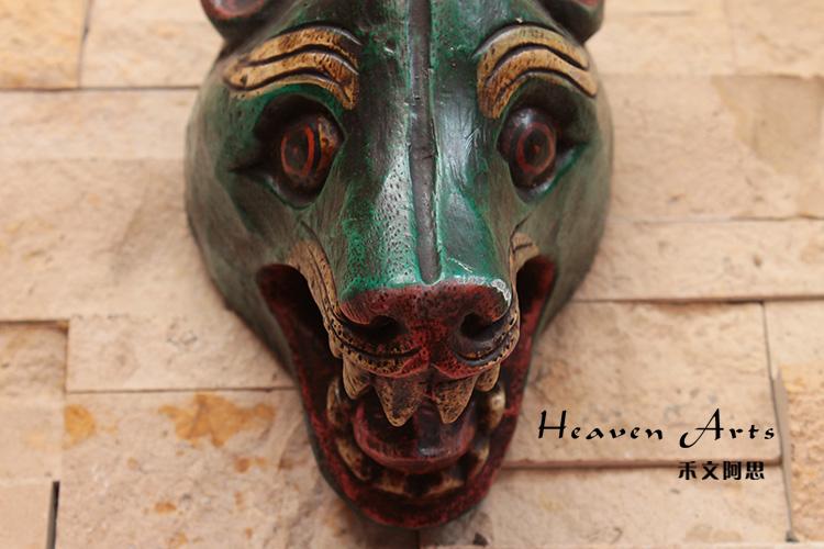 菩提木彩绘面具 狗