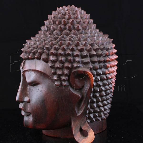 木雕佛头-释迦牟尼(小叶紫檀)